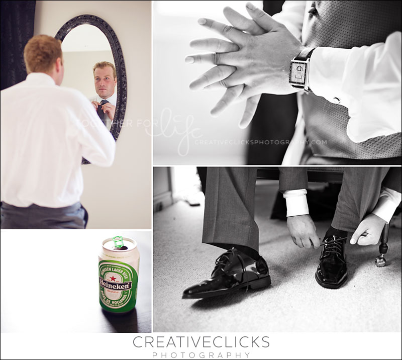 Groom preparing for the wedding day