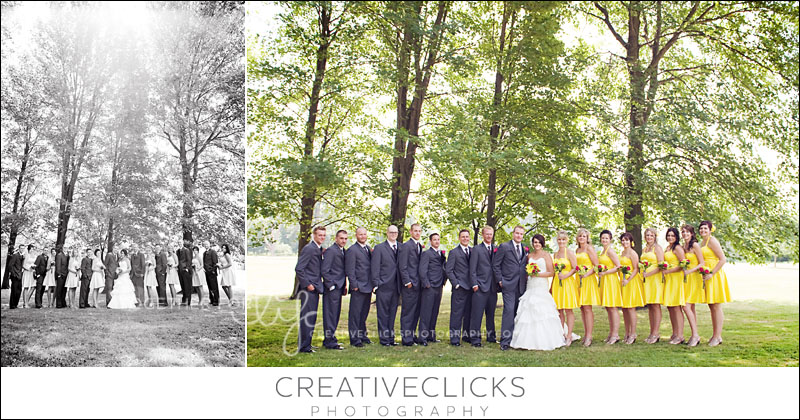 Large wedding party outdoor portraits