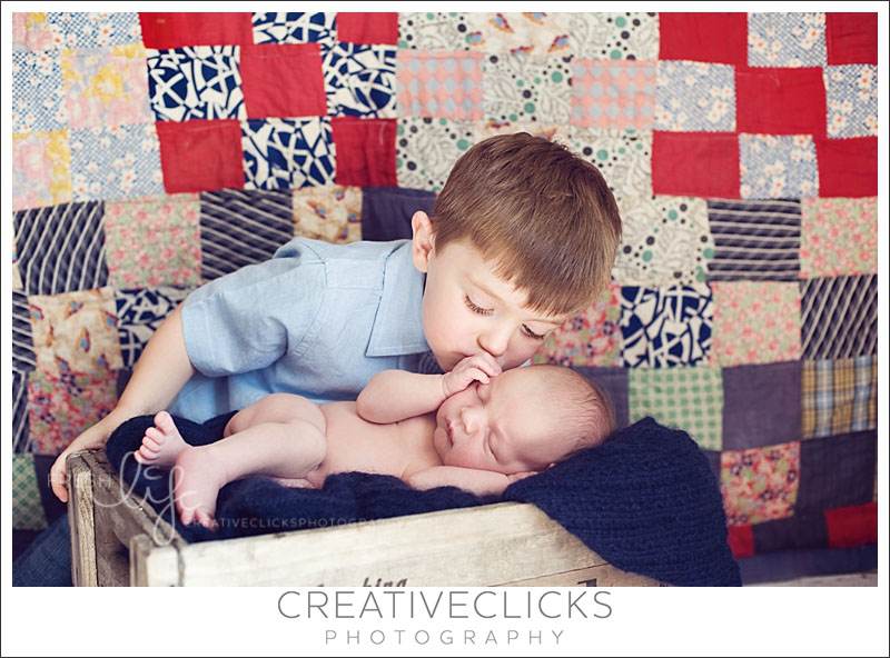 Newborn Baby and Sibling Image