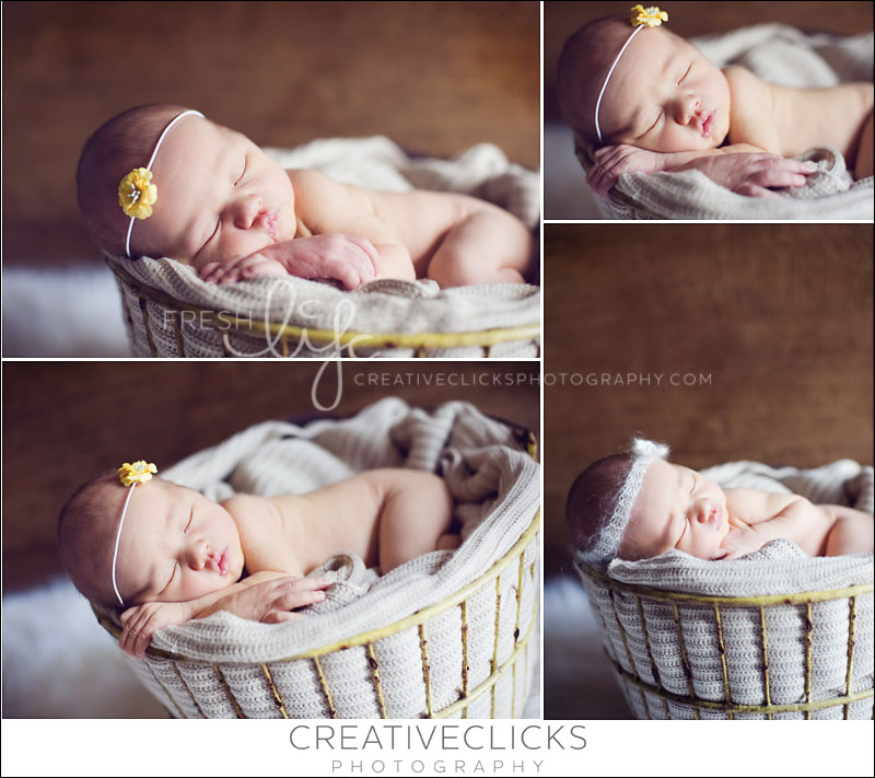newborn girl posed in yellow egg basket