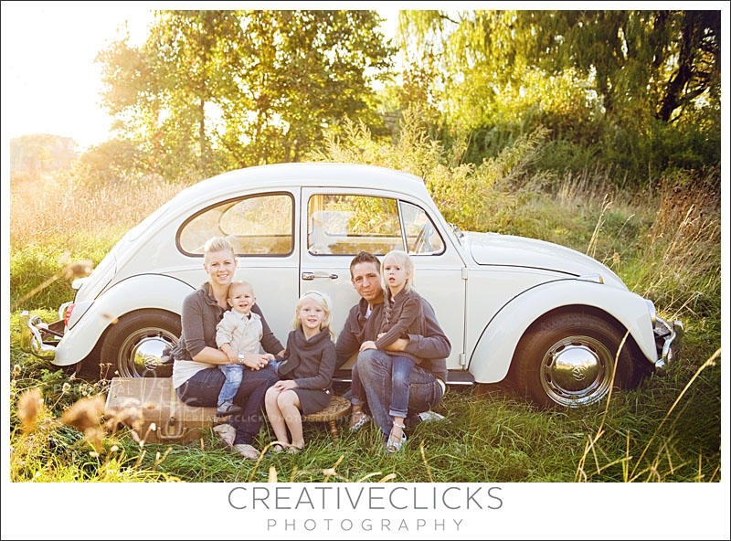 Family Session with Volkswagon Beetle in Field