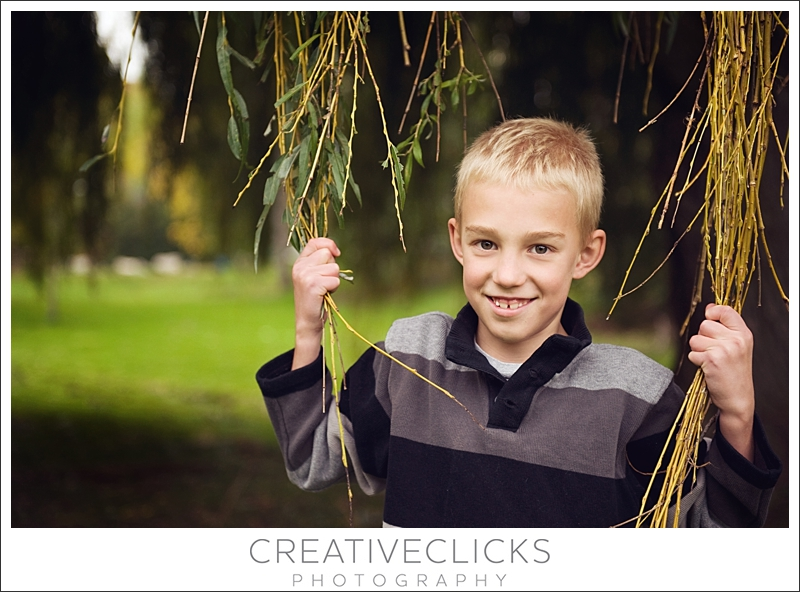 Boy Playing in Willow Tree