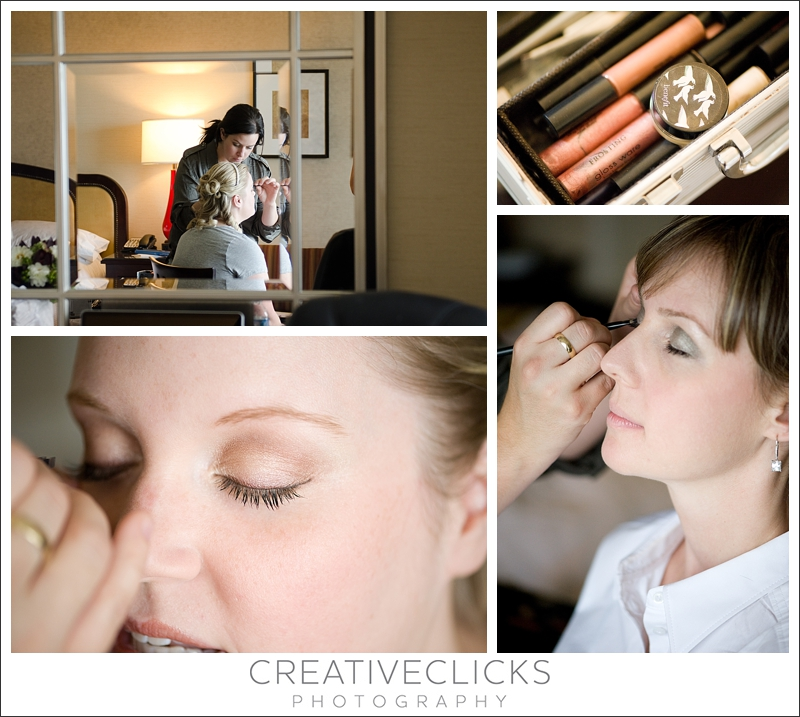 Bride getting ready in hotel room