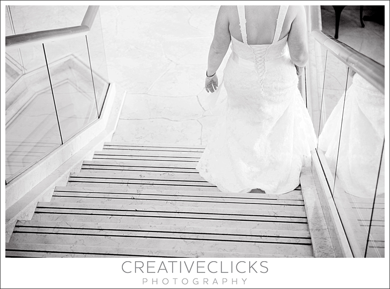 Bride's Dress Down Stairs