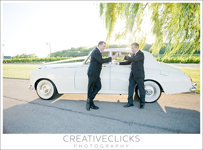Groom and Best Man with Rolls Royce