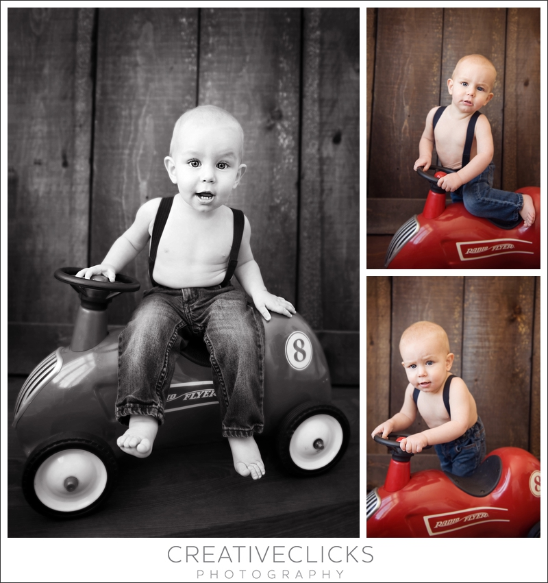 Baby with Radio Flyer Toy