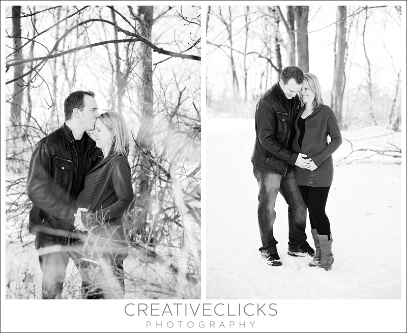 Black and White Winter Maternity Session