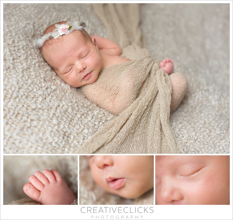 Sweet newborn baby girl wrapped on beige background feather crown detail pictures