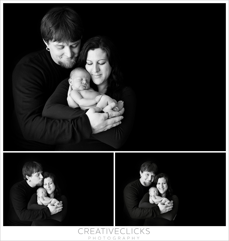 Black and white newborn family pictures