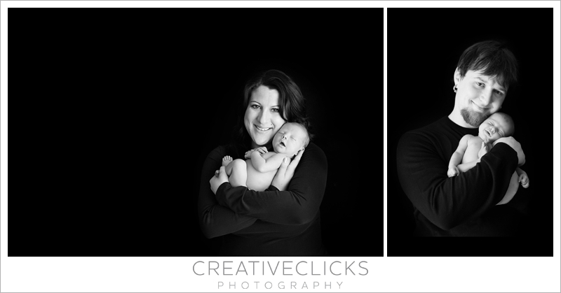 Black and white pictures with newborn and parents