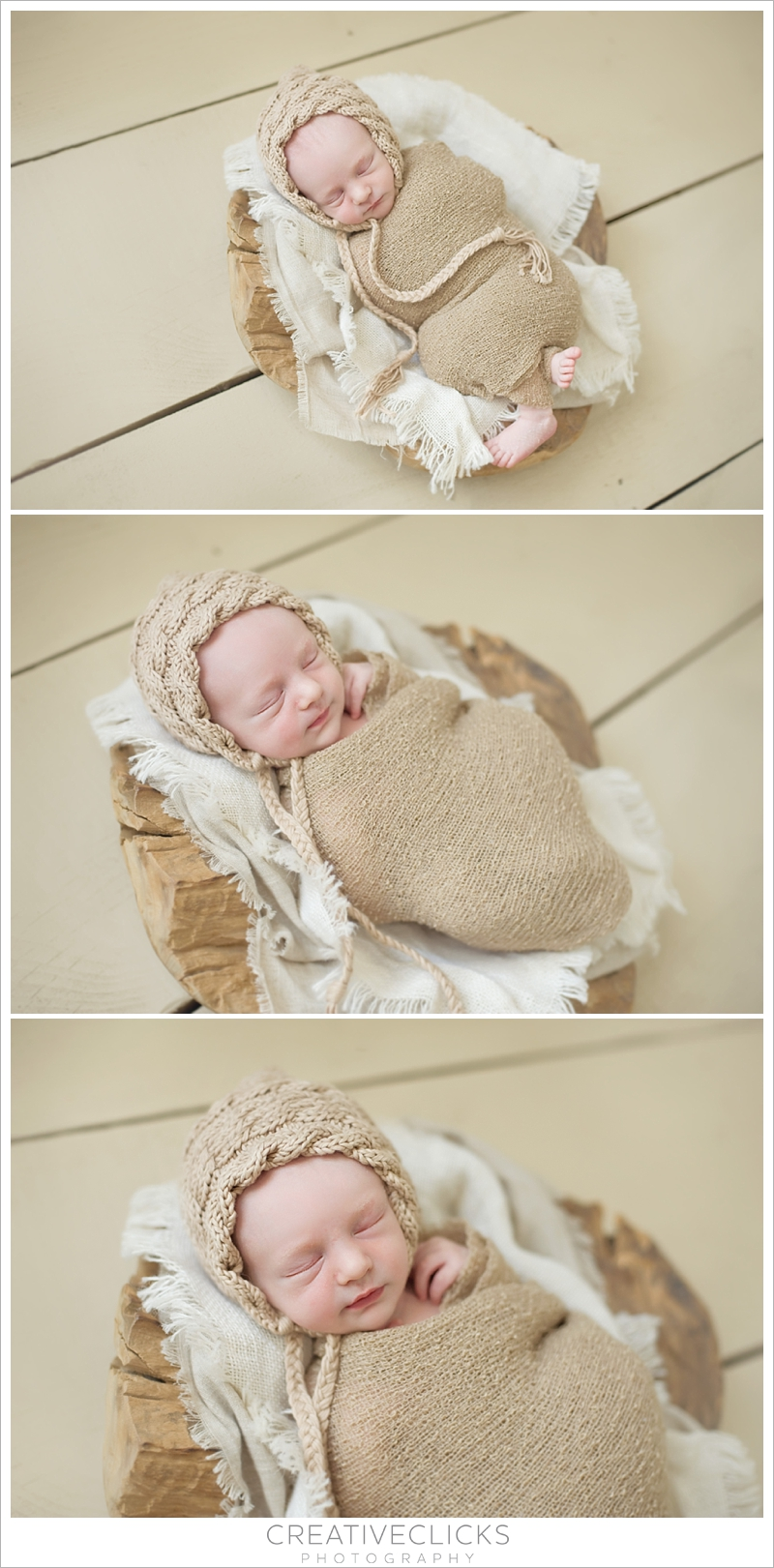 Baby Boy Wrapped Sleeping in Rustic Wooden Bowl