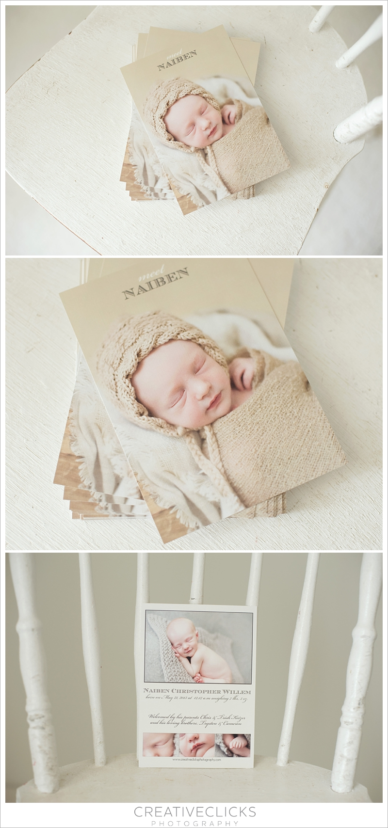 Custom linen birth announcements