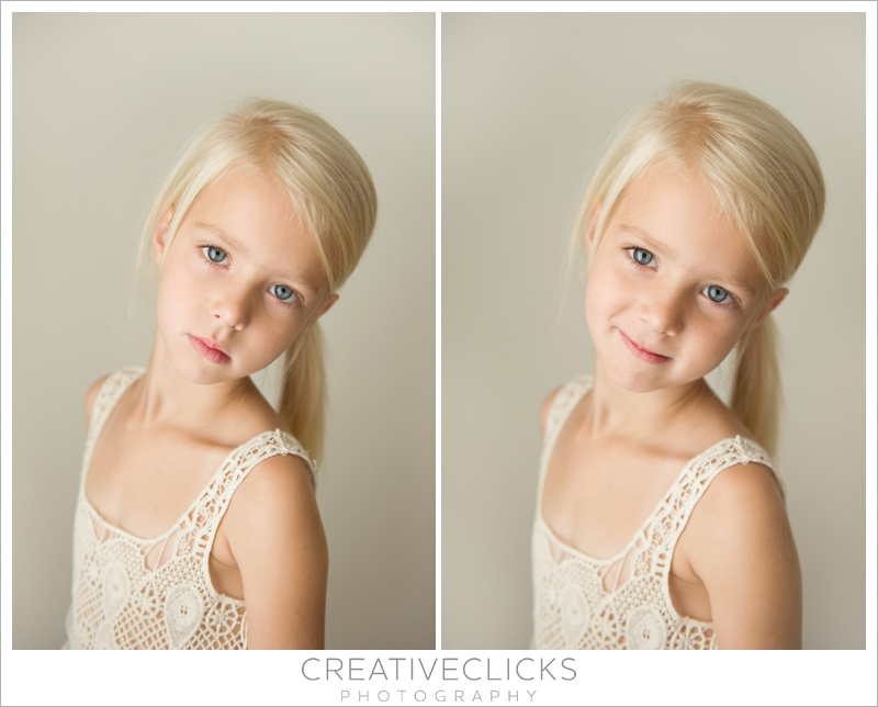Portraits of five year old girl