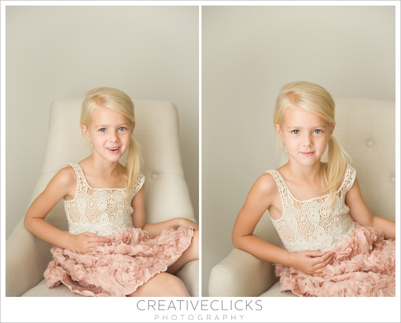 Five year old girl in crochet and floral chiffon dress sitting in chair