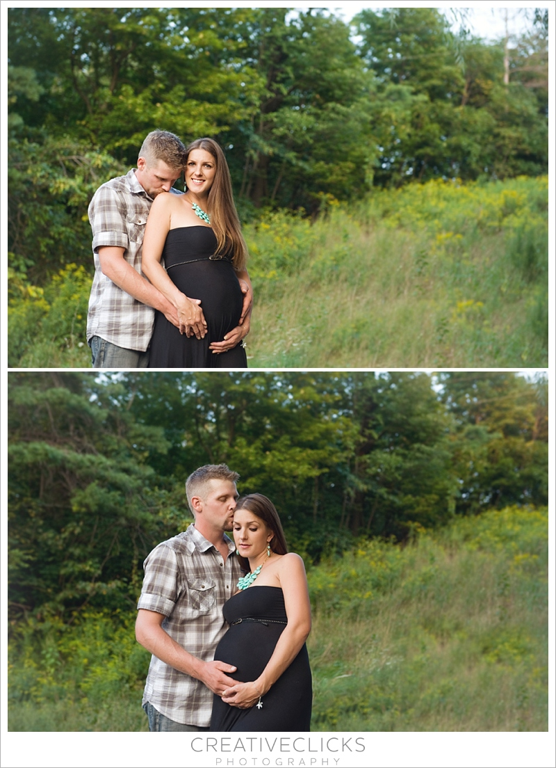 Professional maternity portraits in long grass field