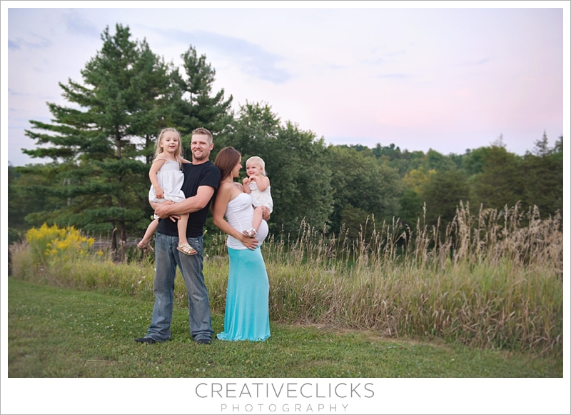 Professional maternity portraits on hill at Balls Falls, family together
