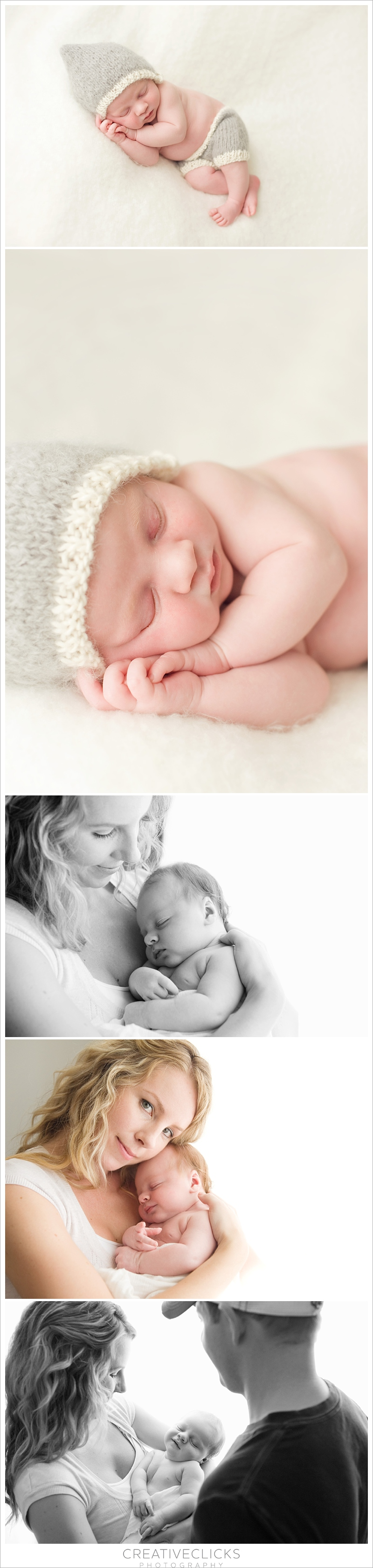 Newborn baby boy in his mothers arms