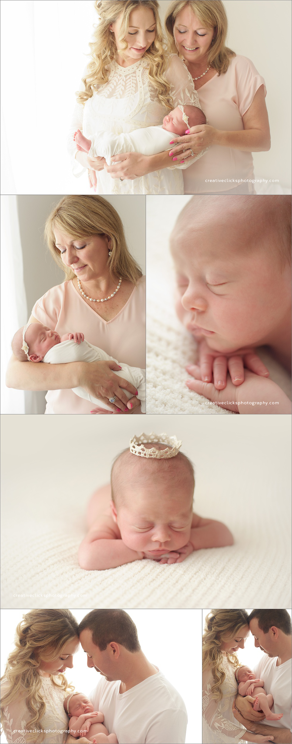 parent and grandparents images with newborn baby girl