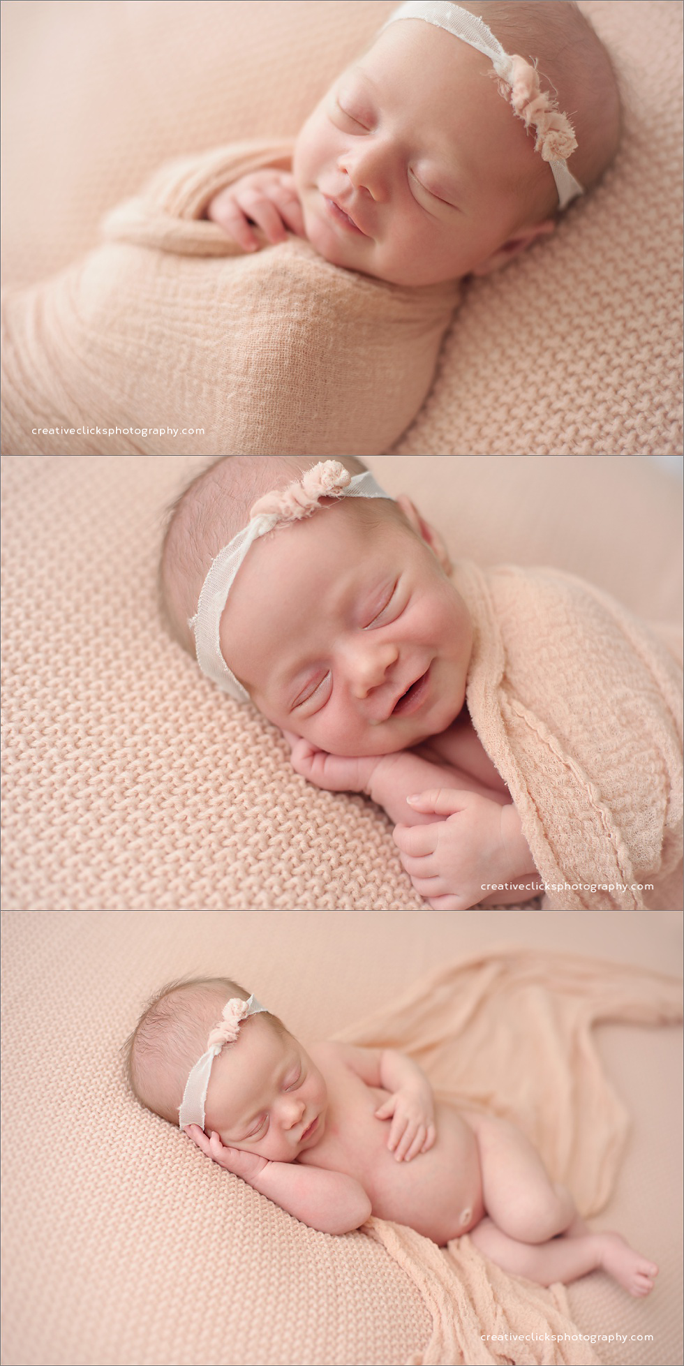 newborn baby girl wrapped in soft pink
