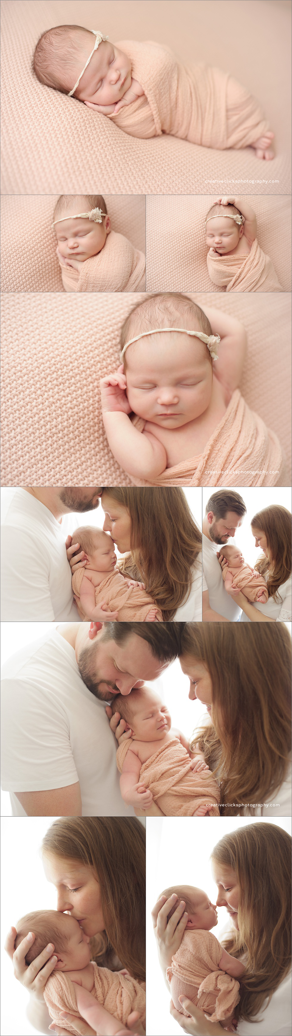 baby and parent posing pink blanket natural posing