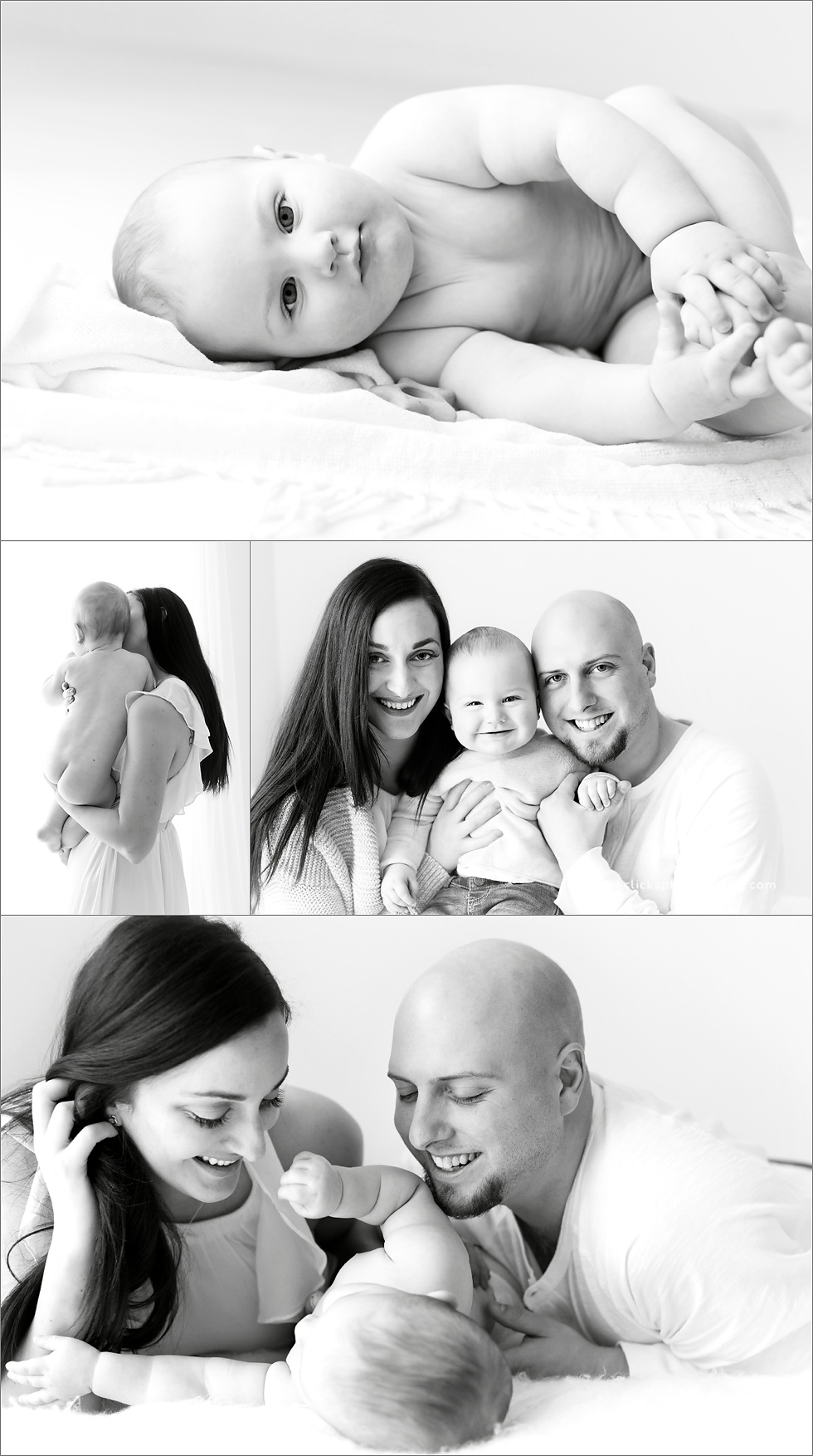 natural black and white baby photography