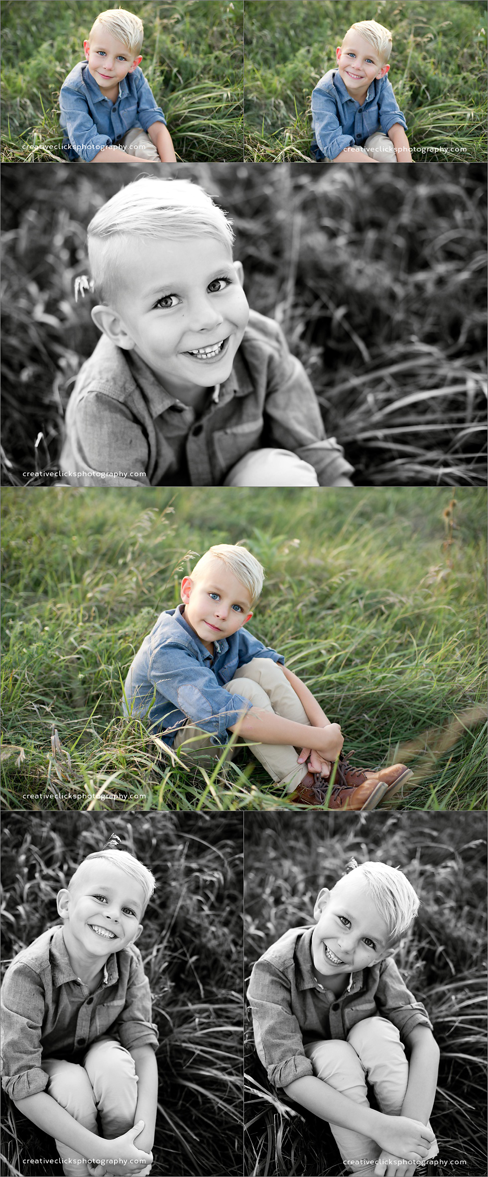 reflective images of six year old in field