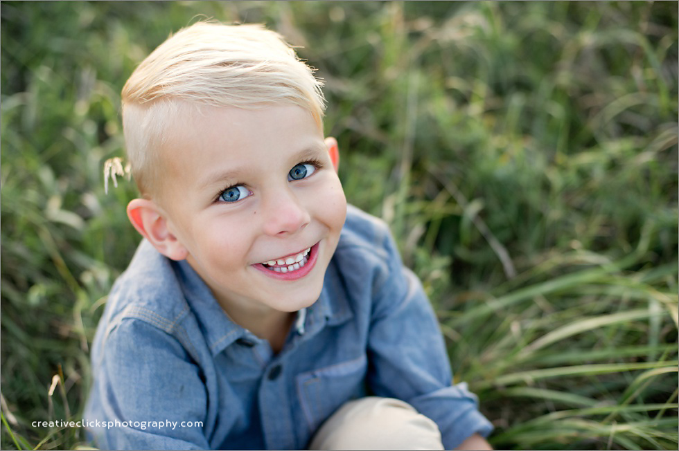 six year old boy birthday session outdoors