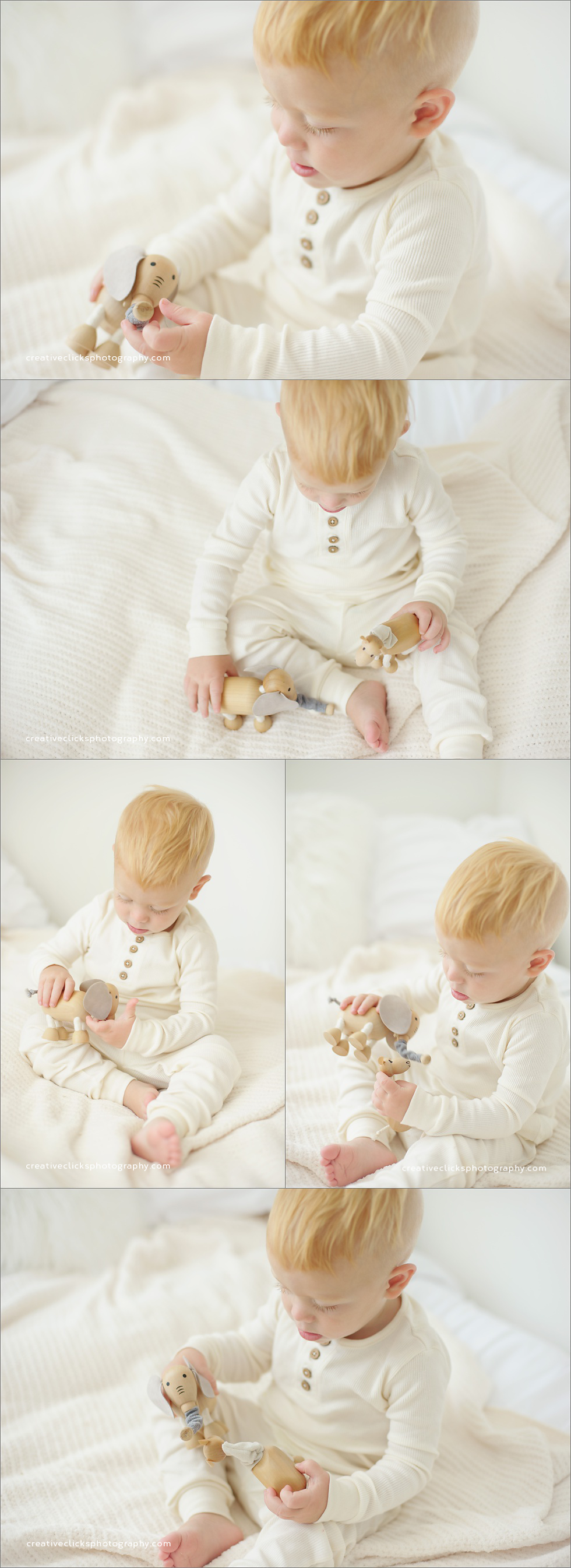 baby boy playing with wooden toys at portrait session