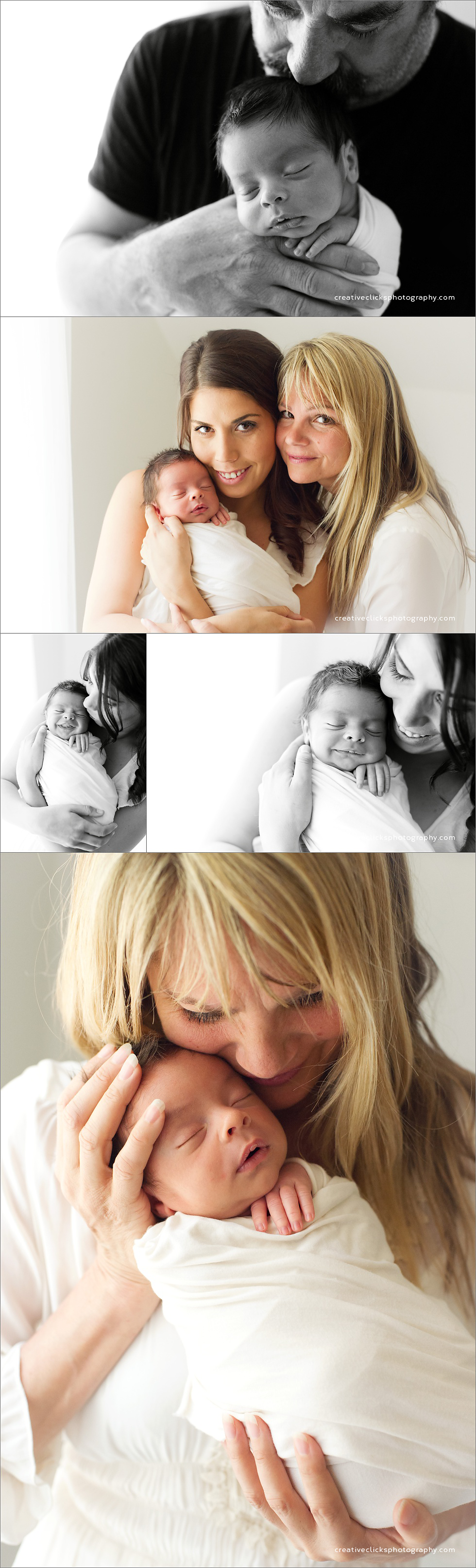 newborn baby boy in the arms of his family