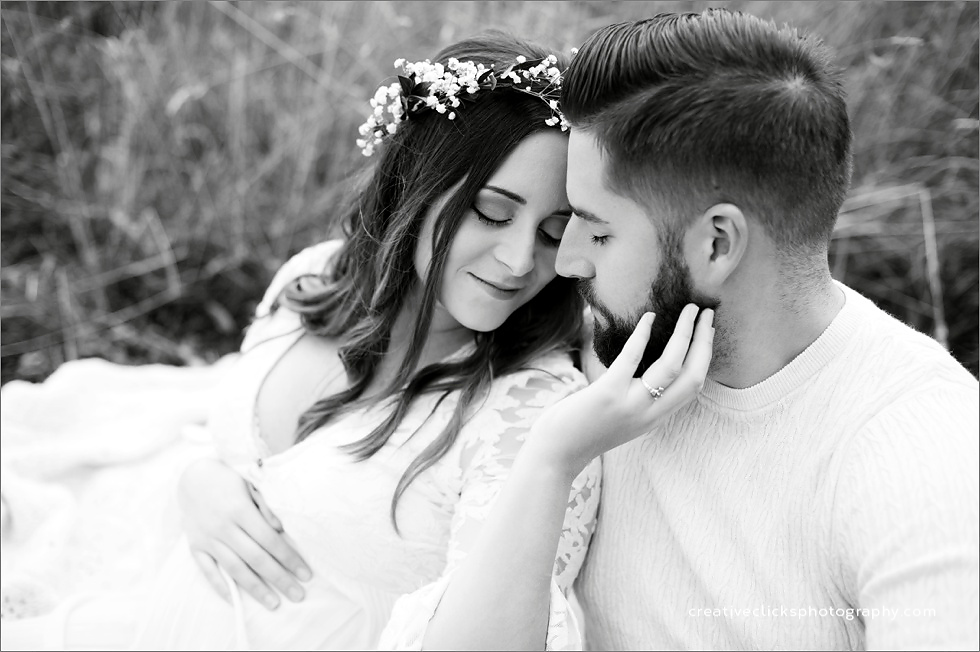 black and white outdoors maternity session